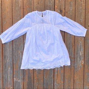 White eyelet babydoll long sleeve dress